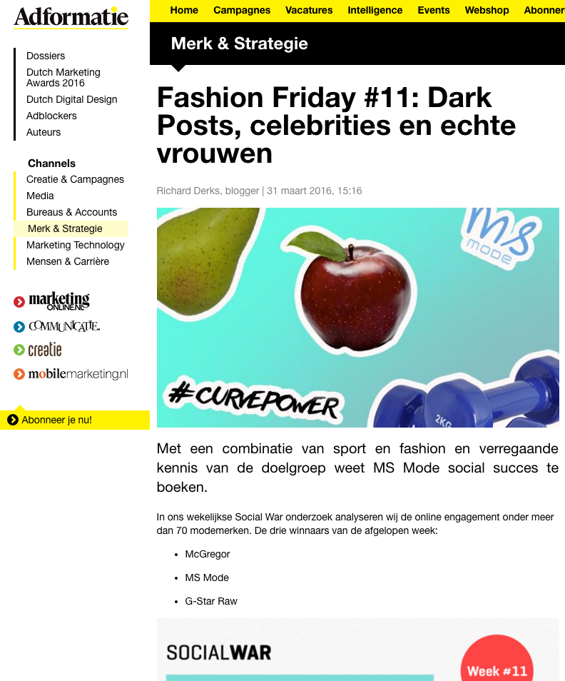 adformatie Social War week 11