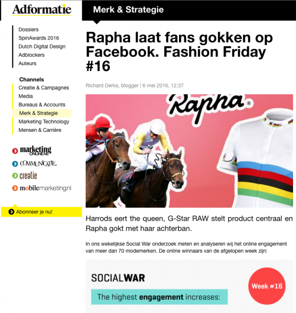 adformatie-iizt-social-war-fashion-friday-rapha-harrods-g-star-raw